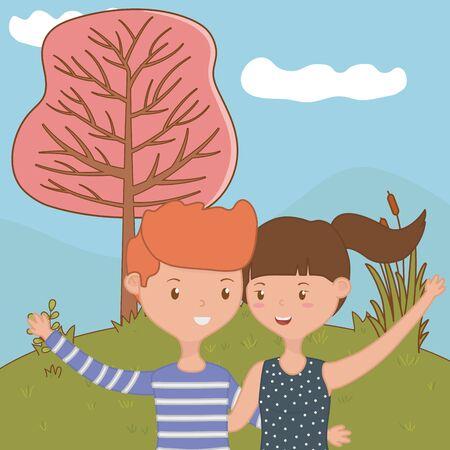 Teenager boy and girl cartoon design Reklamní fotografie - 138202411