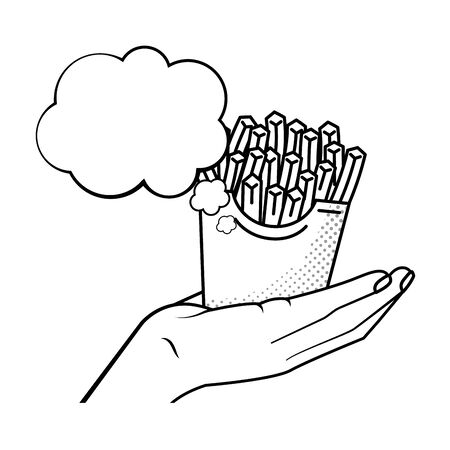 hand holding french fries black and white Çizim