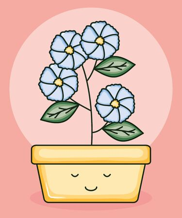garden plant in square pot kawaii character Archivio Fotografico - 138201614