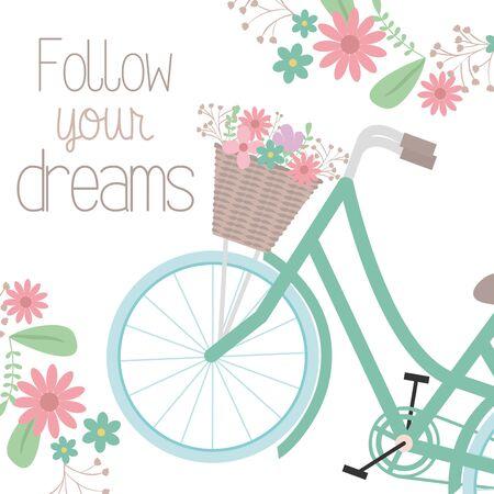 retro bicycle with basket and floral decoration Foto de archivo - 138200657