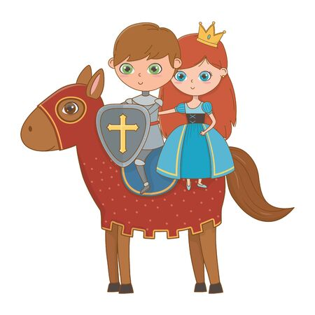 Medieval princess and knight of fairytale design vector illustration 版權商用圖片 - 138201287