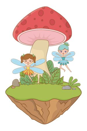 Mushroom and character of fairytale design vector illustration