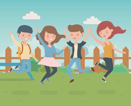 happy friends celebrating in the park scene vector illustration Archivio Fotografico - 138201595
