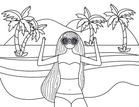 Girl with summer swimwear design Foto de archivo - 138202440