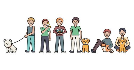 young men with little dog and cat adorable mascots