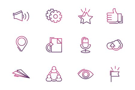 set of network social media icons line