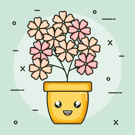 garden plant in pot kawaii character Archivio Fotografico - 138201255