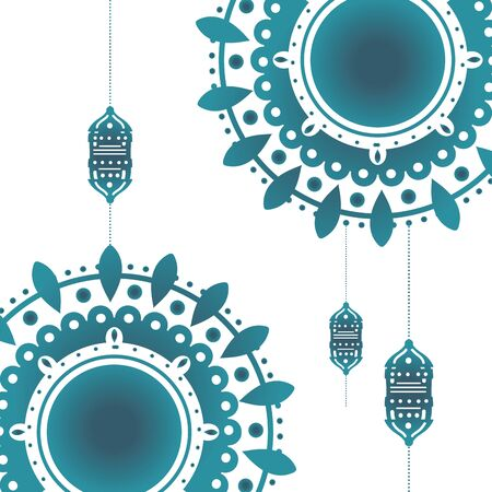 Mandala with lanterns of bohemic concept