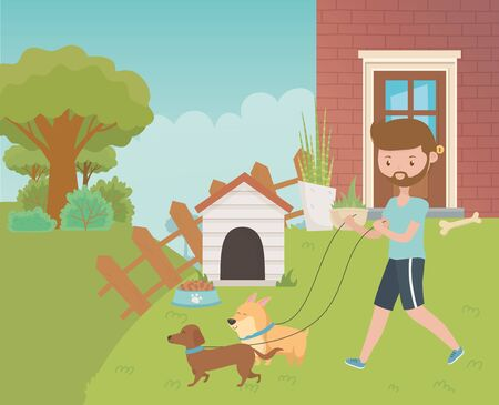 Boy with dogs cartoons design