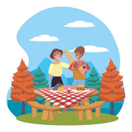 Women friends having picnic design Foto de archivo - 138200357