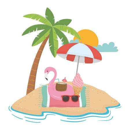 Flamingo float and summer icon set design