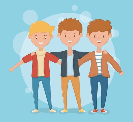 Friendship of boys cartoons design Ilustrace
