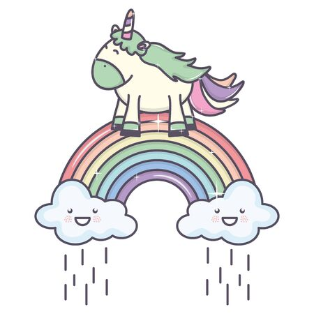 cute adorable unicorn with clouds rainy and rainbow Çizim
