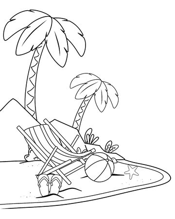 summer time and travel cartoon in black and white