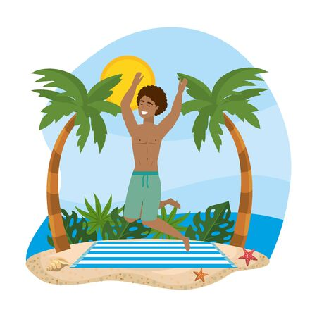 man wearing bathing shorts and jumping in the towel with palms trees