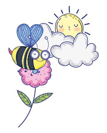 Isolated bee draw cartoon design vector illustration Illustration