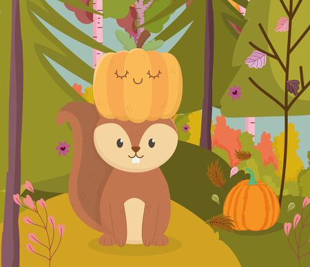 cute squirrel with pumpkin in head hello autumn 일러스트