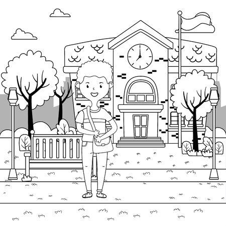 Boy cartoon of school design Çizim