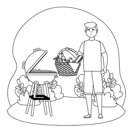 Man cartoon having picnic design Archivio Fotografico - 138201938