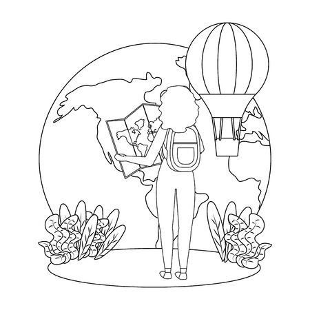 Tourist girl cartoon with bag design 일러스트