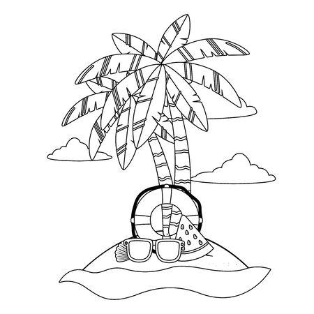 Palm tree design, Summer beach vacation tropical nature island and season theme Vector illustration