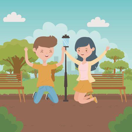 Teenager boy and girl cartoon design Reklamní fotografie - 138201895