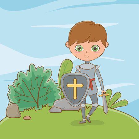 Medieval knight of fairytale design 版權商用圖片 - 138200986