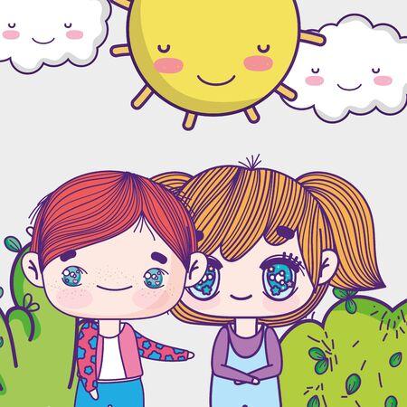 kids, little girl and boy anime cartoon sunny day sky Reklamní fotografie - 138201379