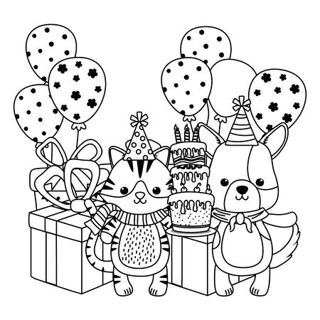Animals with happy birthday icon design Illustration