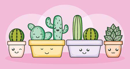 cactus plants in pots kawaii characters Archivio Fotografico - 138201021