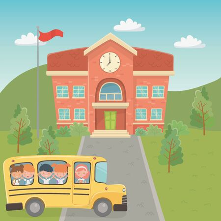 school building and bus with kids in the landscape scene Ilustrace
