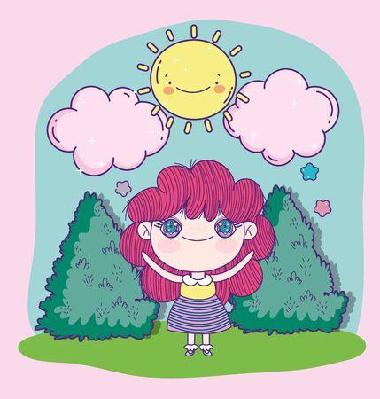 anime cute girl cartoon sun clouds bush Reklamní fotografie - 138201847