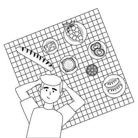 Man cartoon having picnic design