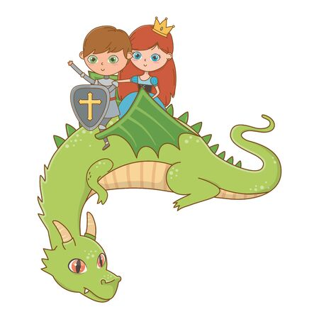 princess knight and dragon of fairytale design vector illustration
