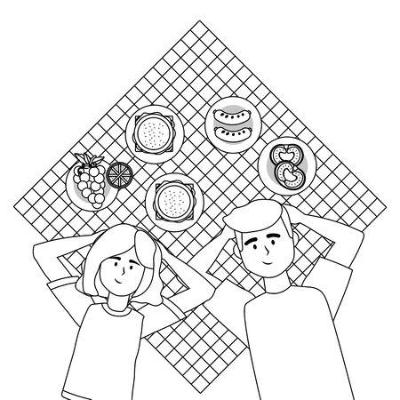 Couple of woman and man having picnic design Foto de archivo - 138201818