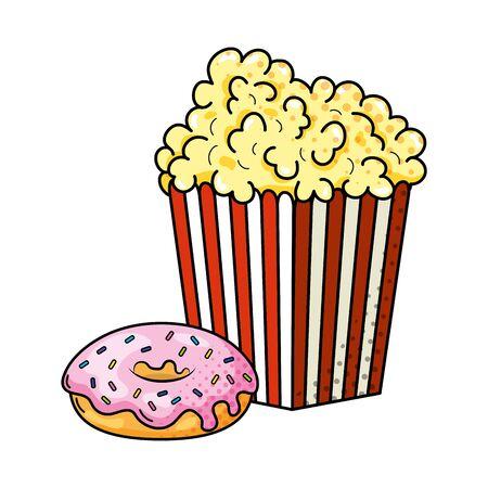 pop corn en donut pictogram cartoon vector illustratie grafisch ontwerp