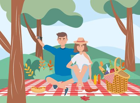Man and woman having picnic outdoors Ilustração