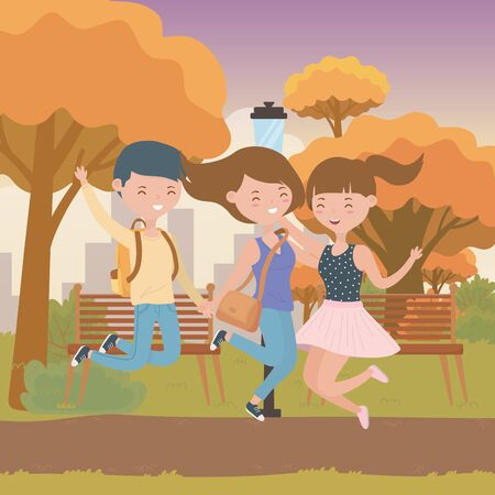Teenager boy and girls design, person portrait young youth student and teen theme Vector illustration Ilustrace