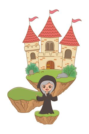 Medieval witch cartoon of fairytale design  illustration 版權商用圖片 - 138254829