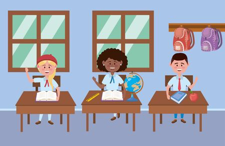 Boy and girls in the classroom design Çizim