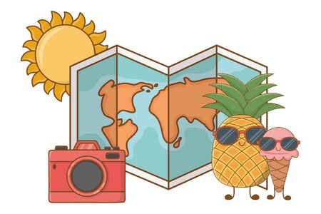 Summer pineapple and ice cream with world map and camera cartoons vector illustration graphic design