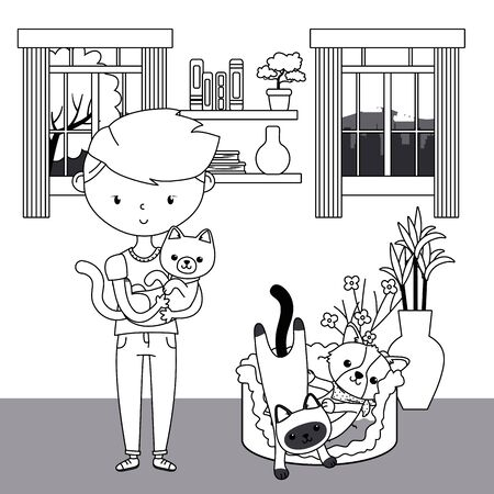 Boy with cats and dog cartoon design Illustration