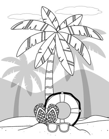 Palm tree design, Summer beach vacation tropical nature island and season theme Vector illustration