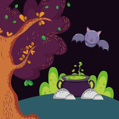 cauldron potion bat forest halloween