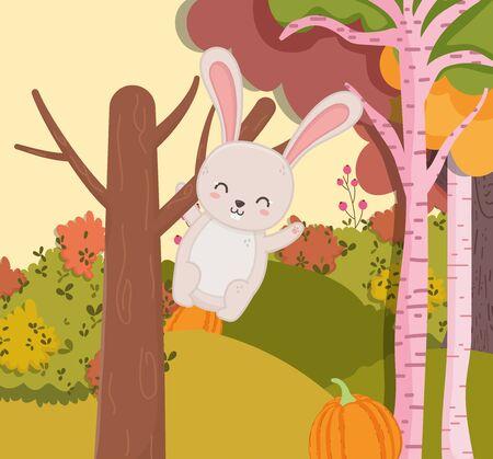 cute rabbit hanging from the tree hello autumn Foto de archivo - 138252079