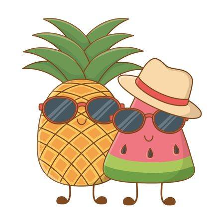 Summer fruits watermelon and pineapple with sunglasses and hat cartoons vector illustration graphic design 向量圖像