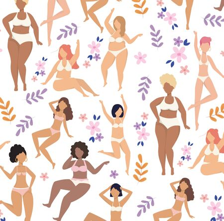 happy girls wearing underclothes with plants background to love yourself vector illustration