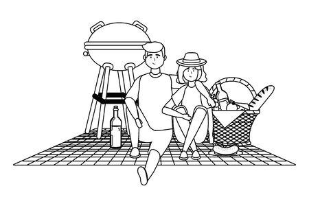 Couple  having picnic design