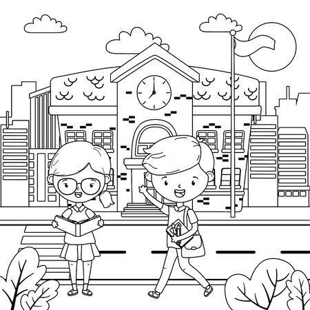 School building and kids design