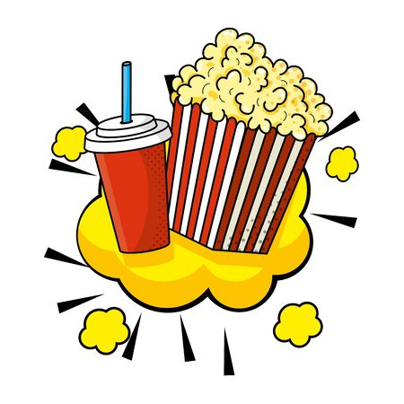 pop corn and soda  illustration 일러스트